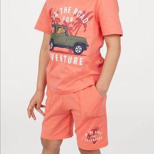 """NWT H&M Boys """"Adventure"""" Orange Shorts 5-6Y"""